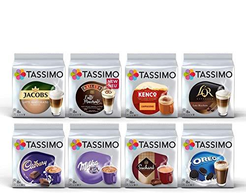 Tassimo Winter Collection Kaffeekapseln - Cadbury, Milka, Suchard, Oreo, Jacobs Latte Macchiato Classico, Bailey's Latte Macchiato, Kenco Cappuccino, L'or Latte Macchiato - 8 Pack (72 Portionen)