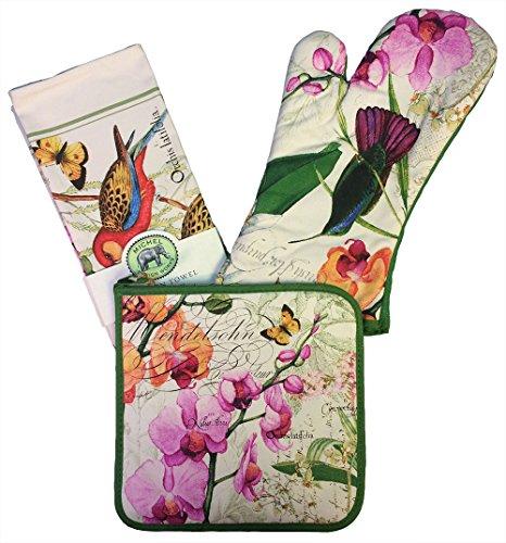 Michel Design Works Tea Towel, Oven Mitt, Pot Holder Set (Orchids in Bloom)