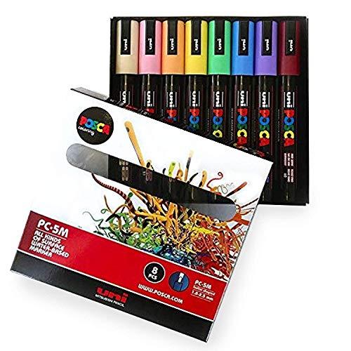 POSCA Colouring - PC-5M Pastel Coloured Set of 8 -