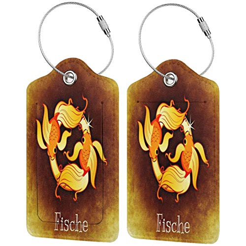 Goldden Fische Luggage Tags Leather Travel Suitcases Id Identifier Baggage Label Card Holder.