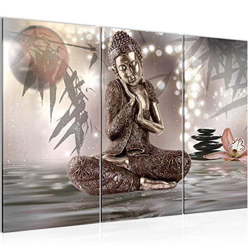 Runa Art Bilder Buddha Feng Shui Wandbild 120 x 80 cm Vlies - Leinwand Bild XXL Format Wandbilder Wohnzimmer Wohnung Deko Kunstdrucke Braun 3 Teilig - Made IN Germany - Fertig zum Aufhängen 503431a