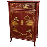Oriental Furniture Japanese Shoe Cabinet - Red Crackle