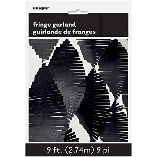 Unique Party 63631 - 9ft Black Tissue Paper Fringe Garland