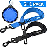 COOYOO Dog Seat Belt,2 Pack Pet Car Seat Belts Adjustable Heavy Duty & Elastic Vehicle Dog Safety Belt Harness for Travel Daily Use - Compatible with Any Pet Harness (Black+Blue)