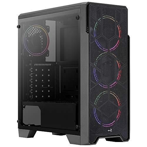 Aerocool ORESATURN, Caja PC, 4 Ventiladores 12 FRGB, Rejilla Frontal, Negro