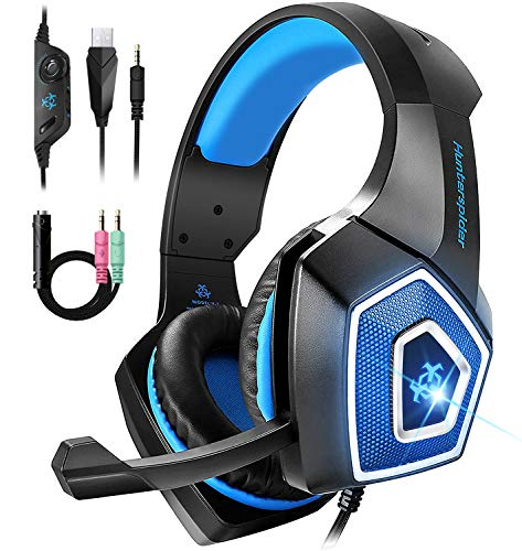 Bovon Casque Gamer PS4, Casque Xbox One Filaire avec Microphone Réduction du Bruit & RGB LED Lumière, Over-Ear Casque Gaming Stéréo Bass Surround pour PC/Mac/Laptop/Nintendo Switch/Tablette