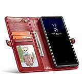 GR Etui Portefeuille pour Samsung Galaxy Note 8 avec Coque Arrière Détachable avec Dragonne (Color : Red)
