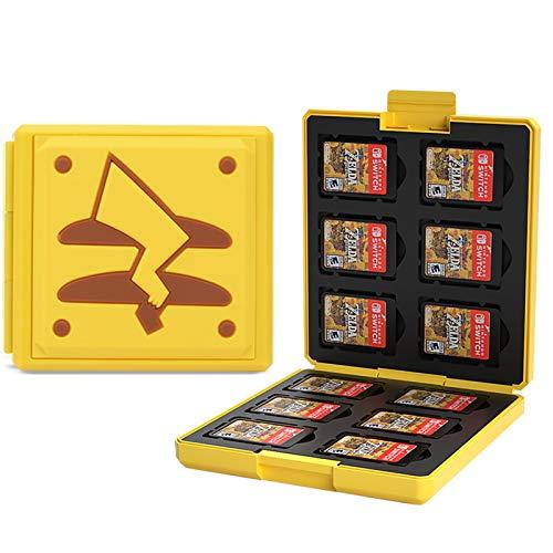 KUEEN Genrics Funda de Juegos Compatible con Nintendo Switch con 12 Ranuras para Almacenamiento de Tarjetas de Juego y 12 Ranuras para Tarjetas SD, Estuche para Nintendo Switch Lite NS (Pikachu Tail)