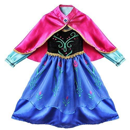 NNDOLL Carnevale Costume Regina delle Nevi Vestito Bambina Travestimento Anna 140