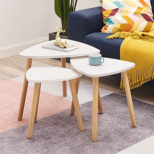 Set of 3 Coffee Table Nesting Coffee End Tables Modern Occasional Side Table Nesting Tables In White with Wood Leg for Living Room, Dining Room, Office, Kitchen, Bedroom (White)