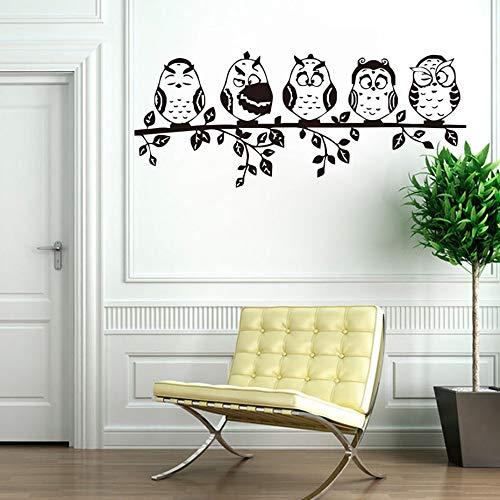 Sanzangtang Vijf koffie schattige kleine uilen grappige muurstickers dier muur applicatie vinyl zelfklevend behang voor kinderkamer wooncultuur