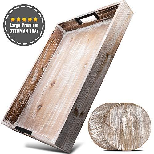 奥斯曼托盘托盘20x14x2.5英寸,配有方便的金属手柄 - 真正的木制农厂咖啡桌,为食物和迷人的乡村装饰 - 家居和餐饮托盘为您的厨房和客厅
