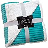 Sherpa Blanket Fleece Throw – 50x60, Turquoise – Soft, Plush, Fluffy, Warm, Cozy – Perfect for Bed, Sofa, Couch, Chair