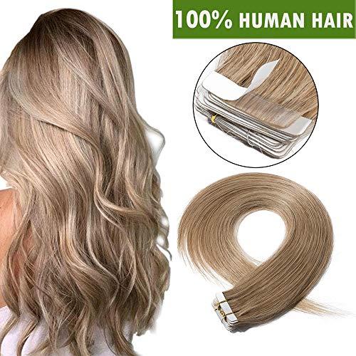 SEGO Tape Extensions Echthaar Haarverlängerung Klebeband Haarteile Glatt 100% remy Haar 20stück Verlängerung +10pcs free tapes Honigblond#27 16