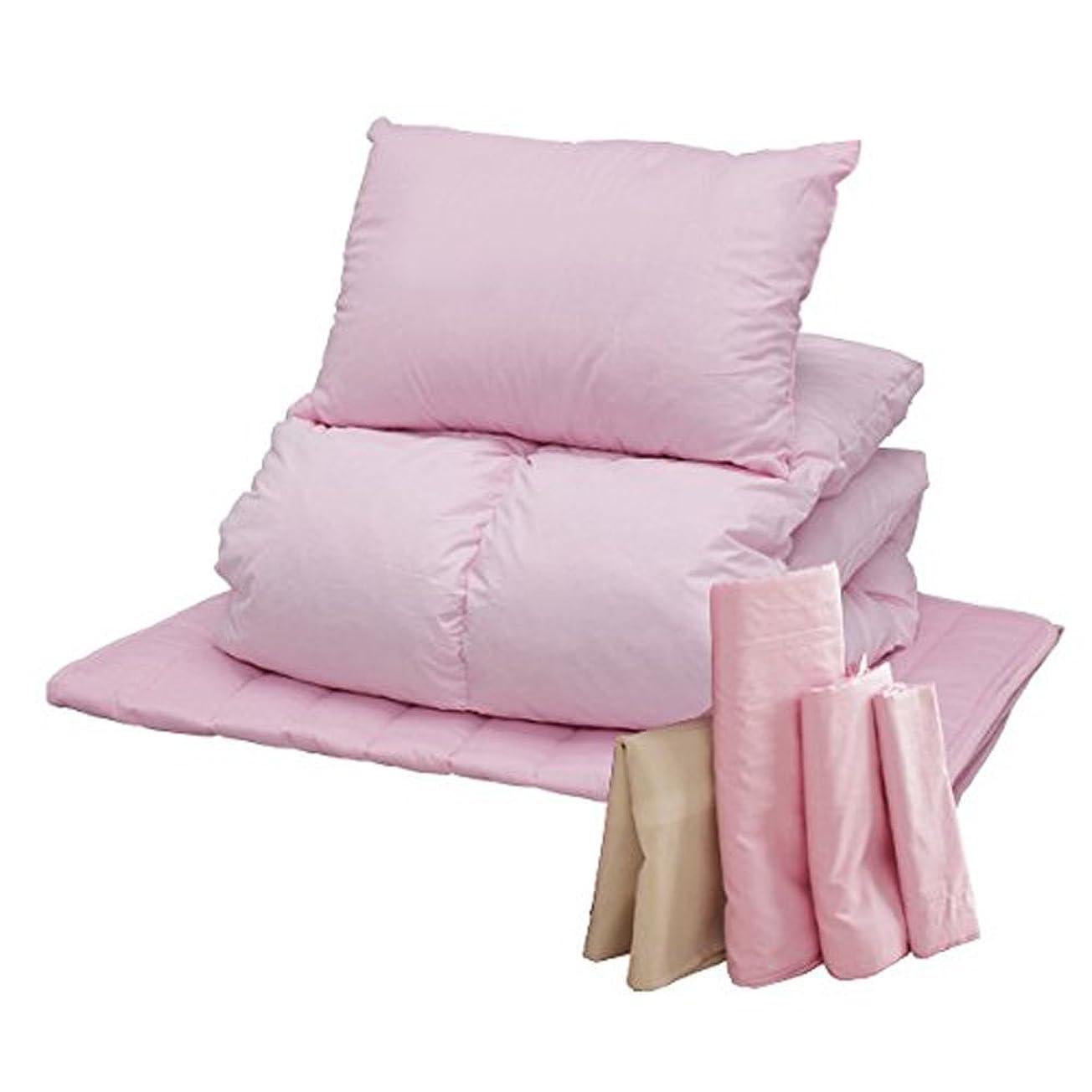 シンクブラウザ前投薬布団セット 7点 羽根布団 敷きパッドセット フェザー100% 軽量 ボリュームタイプ シングル ピンク