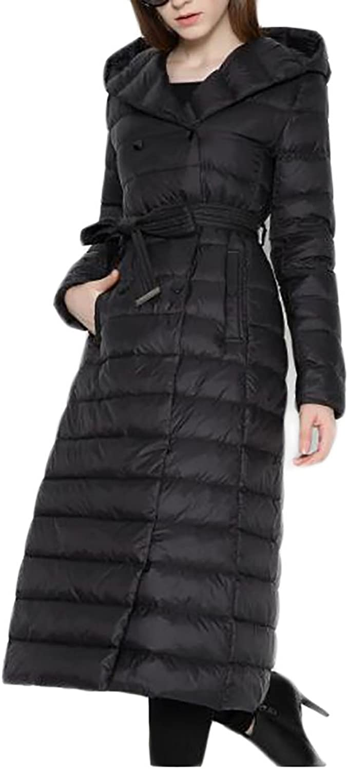 UUYUKWomen Vogue Long Belted Double Breasted Hooded Down Coats