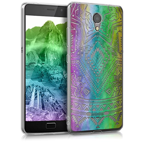 kwmobile Hülle kompatibel mit Lenovo P2 - Handyhülle - Handy Hülle Sonne Aztec Mehrfarbig Pink Transparent