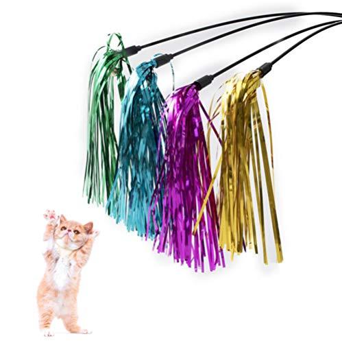 DIVISTAR Interaktives Katzenspielzeug mit Glocke, reflektierendes Papier, Mehrfarbig, 30 cm, 4 Stück