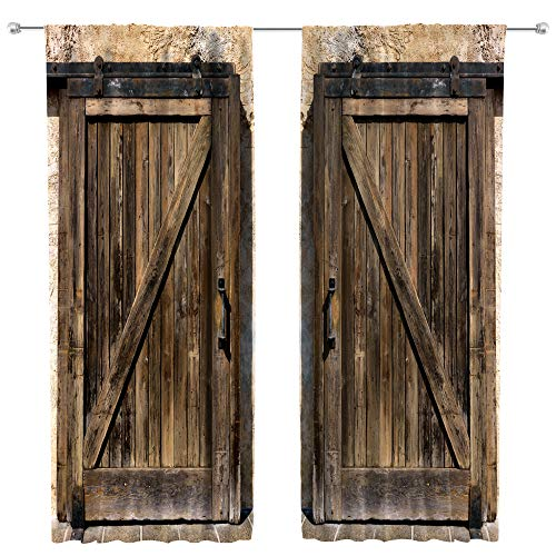 Riyidecor Rustic Wooden Barn Door Curtains for Living Room Decoration Rod Pocket Wood Brown Door Window Curtains Farmhouse Art Printed Bedroom Window Drapes Treatment Fabric (2 Panels 52 x 84 Inch