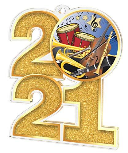 Trophy Monster El paquete de medallas de banda musical 2021 incluye 5 medallas y cintas, clubes, fiestas y empresa, hecho de acrílico impreso, 70 mm (8 tamaños)
