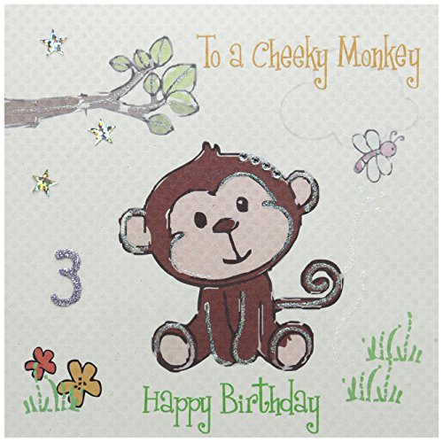 witte katoenen kaarten Aan een Cheeky Happy 3, Handgemaakte 3e Verjaardagskaart, Aap, Wit