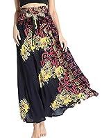 Csbks Women's 2 in 1 Bohemian Breezy Asymmetric Beach Long Skirts Casual Halter or Strapless Dress Flower Yellow