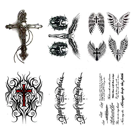 Cross Temporary Tattoos Large Sanskrit Letter Tattoo Sticker Body Art For Men 6 Sheets Wantitall