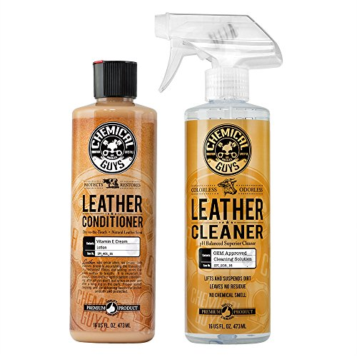 Chemical Guys Leather Cleaner and Conditioner Complete Leather Care Kit 16 Oz 2 Items
