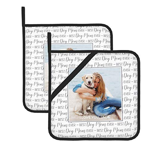 wellay Juego de 2 agarraderas, moderno diseño de perro gris mamá Kicthen Hot Pads lavables, resistentes al calor, ideal para asar a la parrilla, hornear, cocinar
