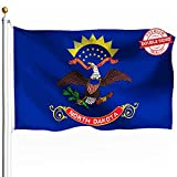 DFLIVE Double Sided North Dakota State Flag 3x5ft Heavy Duty Polyester 3 Ply ND Flags Indoor and Outdoor Use