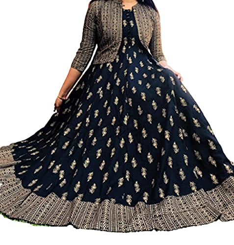 Deep Collection Beautiful Rayon Golden Printed Anarkali Kurti and Jacket (Black, Large)