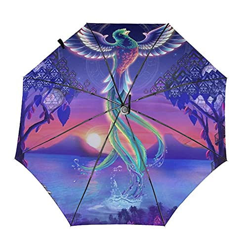 Donono Paraguas automático de tres pliegues 3d impreso Phoenix Flying Sky Sunset portátil protección UV lluvia paraguas interior impresión para al aire libre