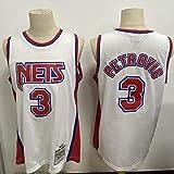 TGSCX Hombres y Mujeres NBA Jersey NBA Brooklyn Nets 3# Drazen Petrovic Basketball Training Ropa Deportes y Ocio Secado rápido Vestido sin Mangas,S