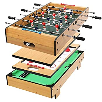 PEXMOR 4 in 1 Tabletop Multifunctional Game Table with Foosball Billiards Hockey Other Leisure Activity Children Combination Arcade Set 36 Inch