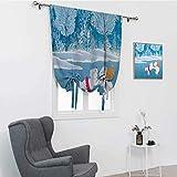 GugeABC Cortinas de dibujos animados para dormitorio, Little Polar Bears patinando sobre Frozen Lake Love Partners Arte de Navidad Tema de Arte con aislamiento térmico, azul blanco, 106,7 x 182,8 cm