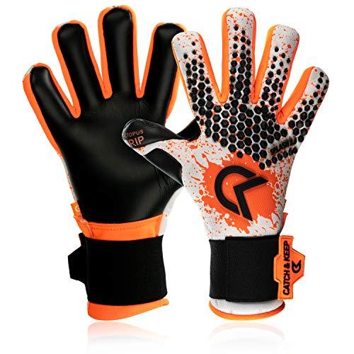 CATCH&KEEP - Guantes de portero profesionales para adultos (agarre máximo), color blanco, naranja y negro