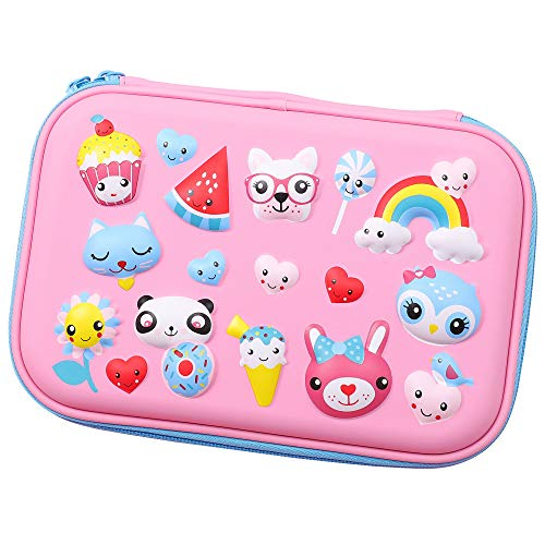 SOOCUTE Sunflower Rainbow Dog Cat Panda Owl Embossed Girls Big Hardtop Pencil Case with Compartment - Cute School Stationery Supply Organizer Box Pen Holder for Kids Children Toddlers (Light Pink)