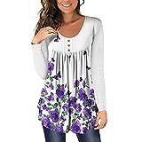 Blusa de túnica plisada con cuello en V para mujer, blusa Henley, camisas sueltas con volantes y botones para arriba, B-white Purple, S