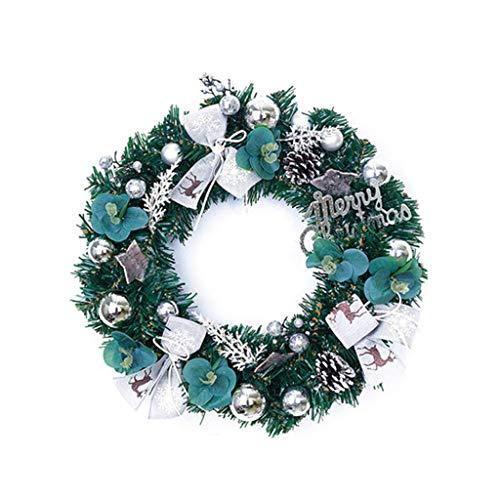Corona navideña, corona navideña de 40 cm con piñas artificiales, bayas y flores navideñas, plateado