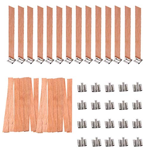 OBANGONG 100 Pcs Wood Candle Wicks Smokeless Natural Wood Wick with Iron Stand Candle Cores for DIY Candle Making Craft