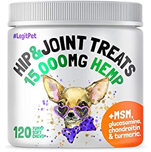 LEGITPET Hemp Hip & Joint Supplement for Dogs - 120 Soft Chews - Made in USA - Glucosamine for Dogs - Chondroitin - MSM - Turmeric - Hemp Seed Oil - Natural Pain Relief and Mobility