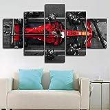 6Lv5Panel Impression sur toile Cadeau d'anniversaire Charles Leclerc F1 Pit Stop 5 pièces Décoration murale encadrée 5 pièces 100 x 55 cm