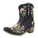 Fullwei Cowboy Booties for Women,Women Embroidery Cowgirl Wide Combat Ethnic Ankle Boot Ladies Casual Pull-Up Western Low Heels Short Motorcycle Riding Walking Shoe (Black, 9)