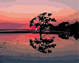 Painting by Numbers DIY Oil Painting for Adult Sunset, Tree, Reflection, Landscape Canvas Print Wall Art Decoration 40X50Cm