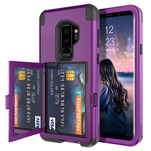BENTOBEN Galaxy S9 Plus Wallet Case Credit Card Slot Holder Cover with Hidden Mirror Three Layer Shockproof Heavy Duty Protection Girls Women Rugged Protective Case for Samsung Galaxy S9+ Plus, Purple