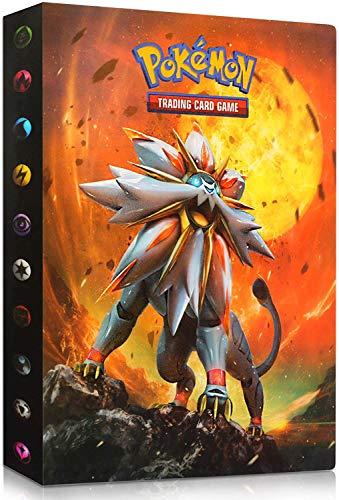 XIKEJI Carpeta de Tarjetas Compatible con Tarjetas de Pokémon, Carpeta de álbum de Tarjetero Coleccionable Contiene: 120 Ranuras para Tarjetas, 4 Bolsillos, 240 Tarjetas - Sun Moon