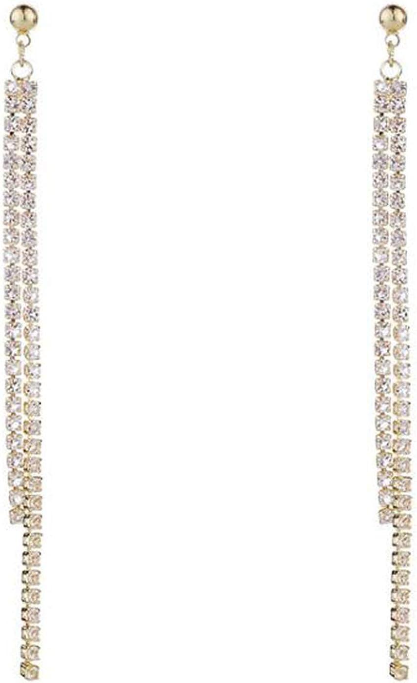 Clip on Earrings for Women Girls Gold Tone Long Chain Tassel Crystal Dangle Drop Non Pierced Minimalism
