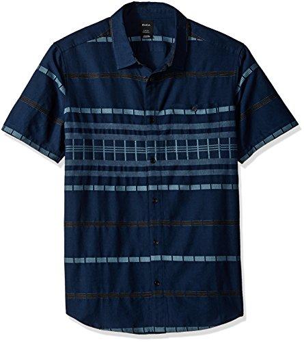 RVCA Herren Krazy Kat Short Sleeve Woven Shirt Button Down Hemd, Classic Indigo, Klein