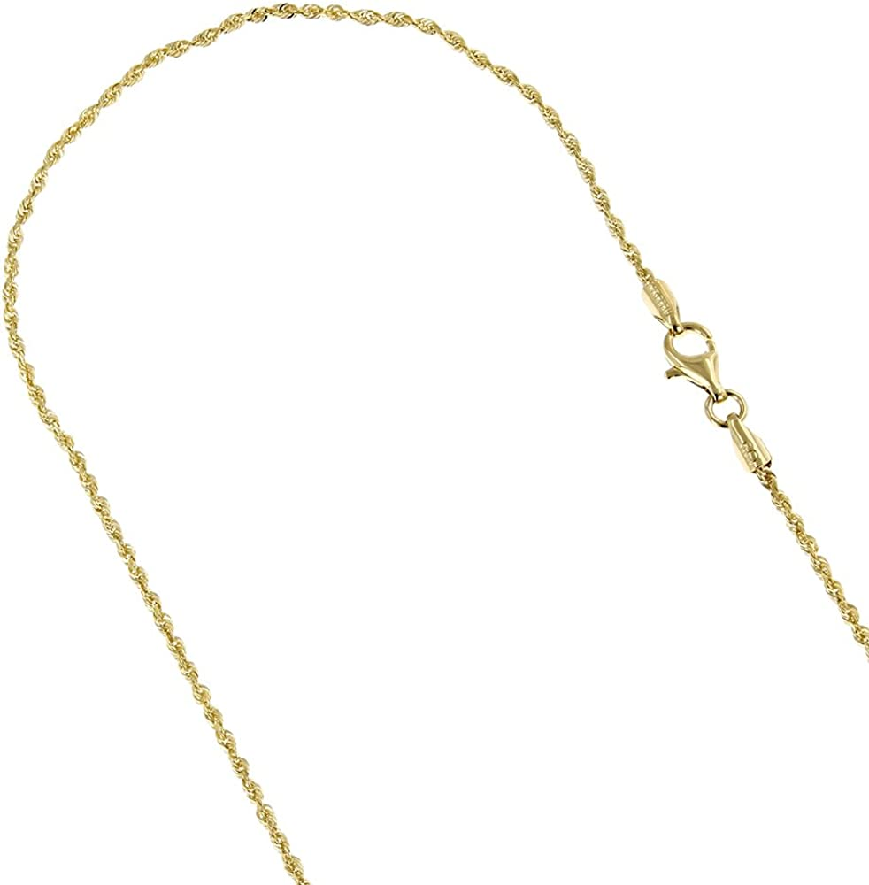 Luxurman Solid 14K Rope Chain Diamond Cut Necklace, Bracelet or Anklet with Lobster Claw 1.5mm Wide
