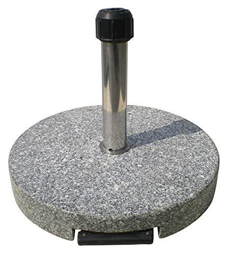 Primaster TrendLine Granit Sonnenschirmständer mit Rollen Schirmständer grau rund 50 cm